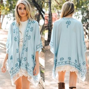 MUST HAVE Embroidered Kimono - SKY BLUE